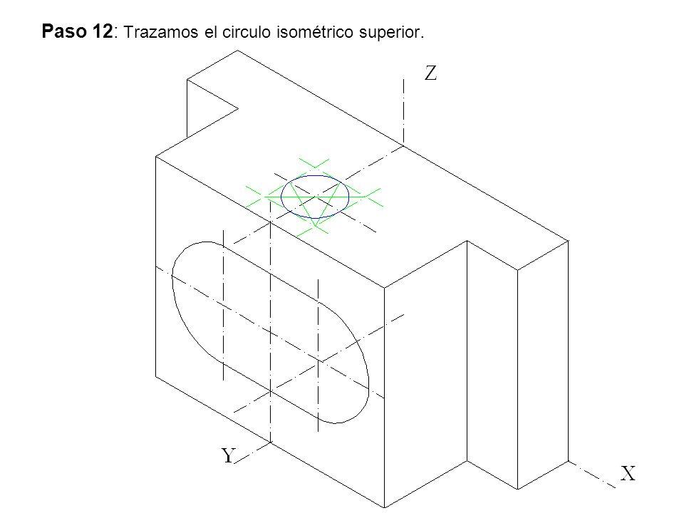 Paso 12: Trazamos el circulo isométrico superior.