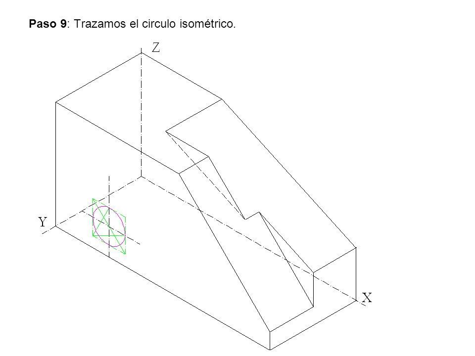 Paso 9: Trazamos el circulo isométrico.