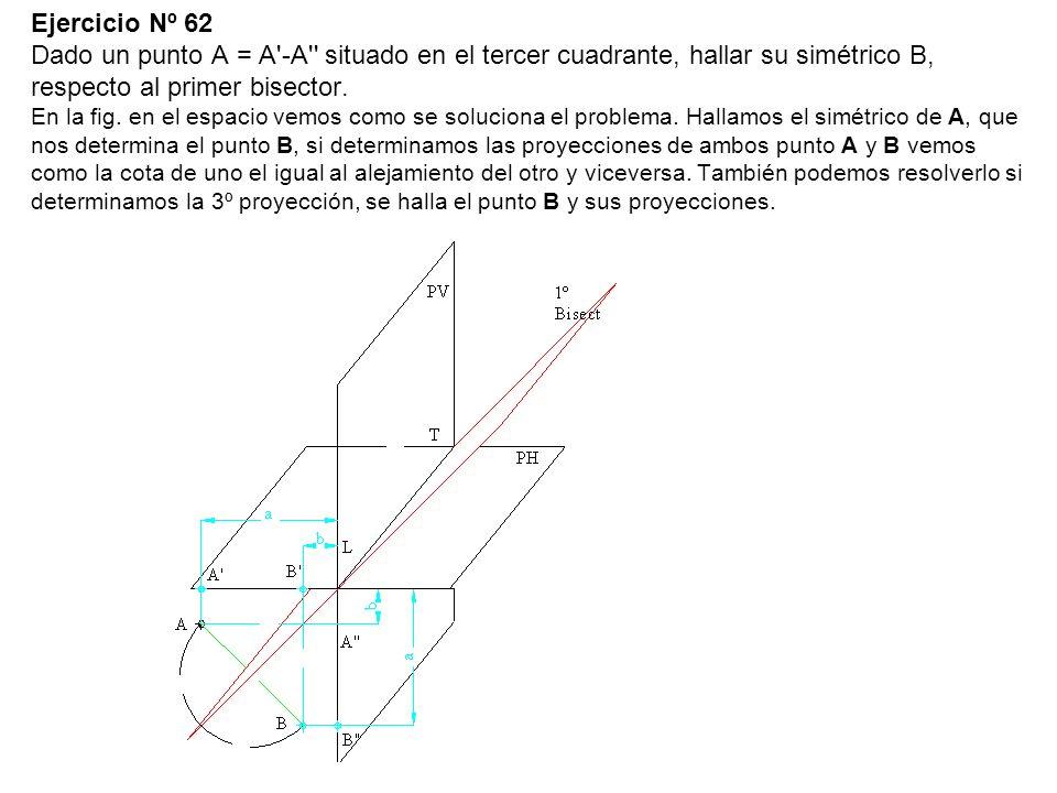 Ejercicio Nº 62 Dado un punto A = A'-A'' situado en el tercer cuadrante, hallar su simétrico B, respecto al primer bisector. En la fig. en el espacio
