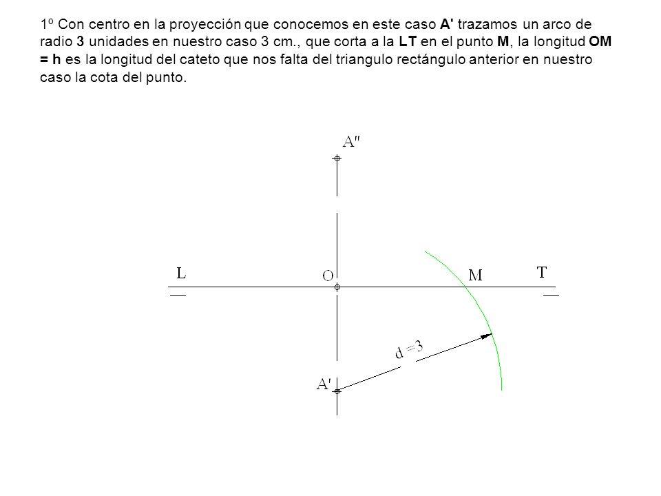 1º Con centro en la proyección que conocemos en este caso A' trazamos un arco de radio 3 unidades en nuestro caso 3 cm., que corta a la LT en el punto