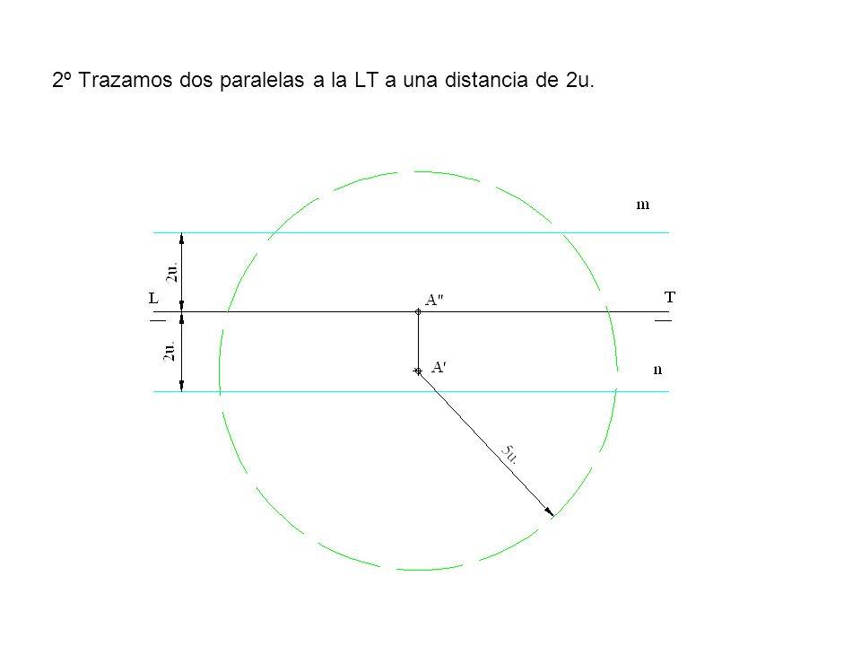2º Trazamos dos paralelas a la LT a una distancia de 2u.