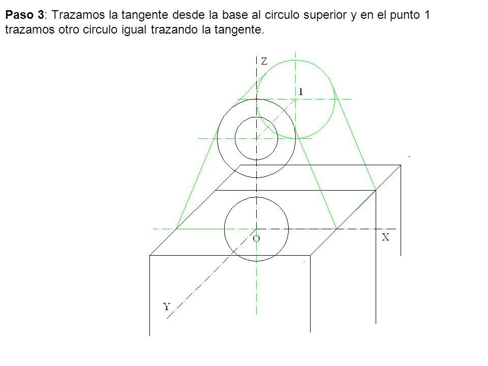 Paso 3: Trazamos la tangente desde la base al circulo superior y en el punto 1 trazamos otro circulo igual trazando la tangente.