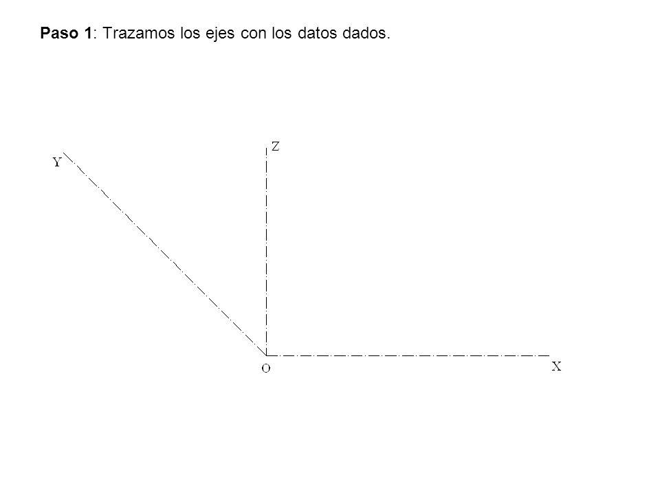 Paso 1: Trazamos los ejes con los datos dados.