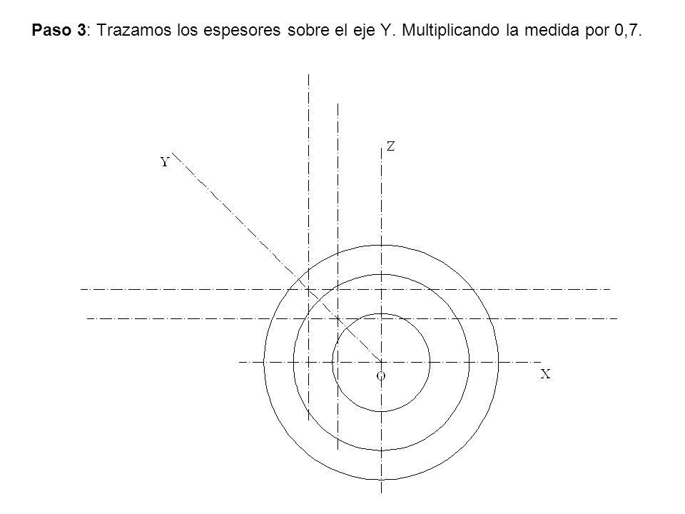 Paso 3: Trazamos los espesores sobre el eje Y. Multiplicando la medida por 0,7.