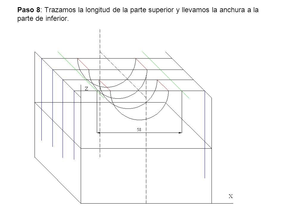 Paso 8: Trazamos la longitud de la parte superior y llevamos la anchura a la parte de inferior.