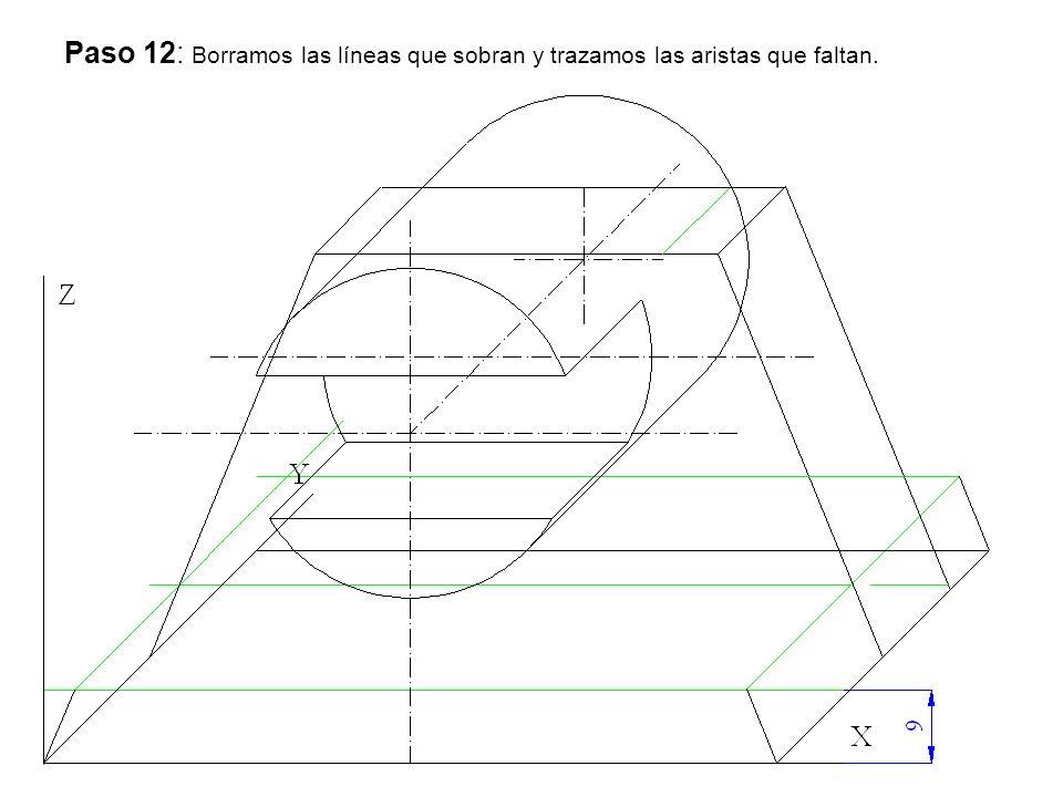 Paso 12: Borramos las líneas que sobran y trazamos las aristas que faltan.