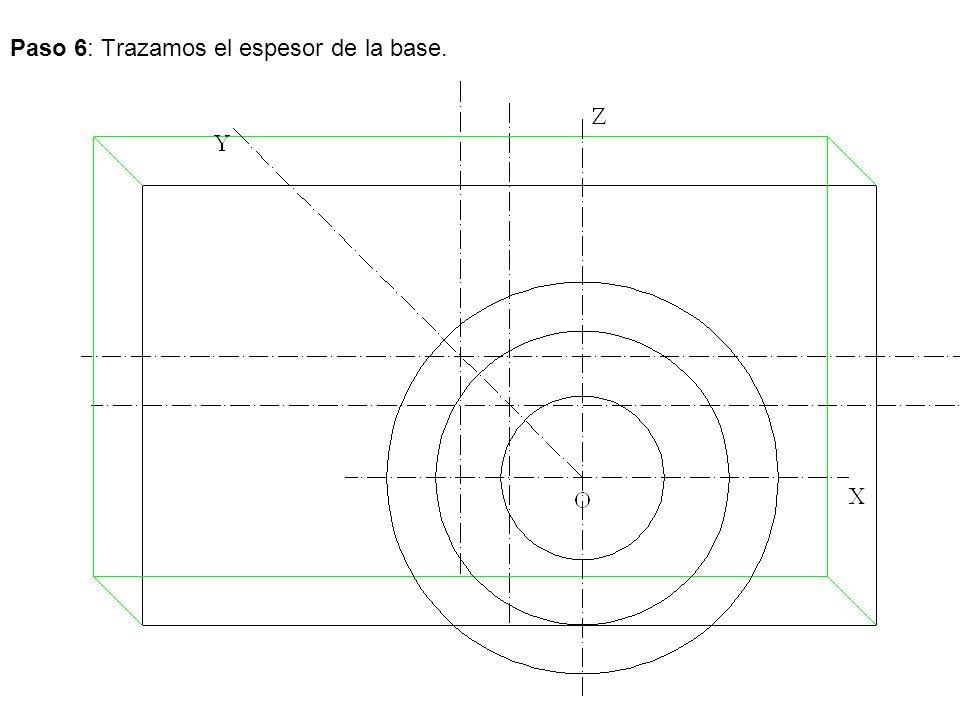 Paso 6: Trazamos el espesor de la base.