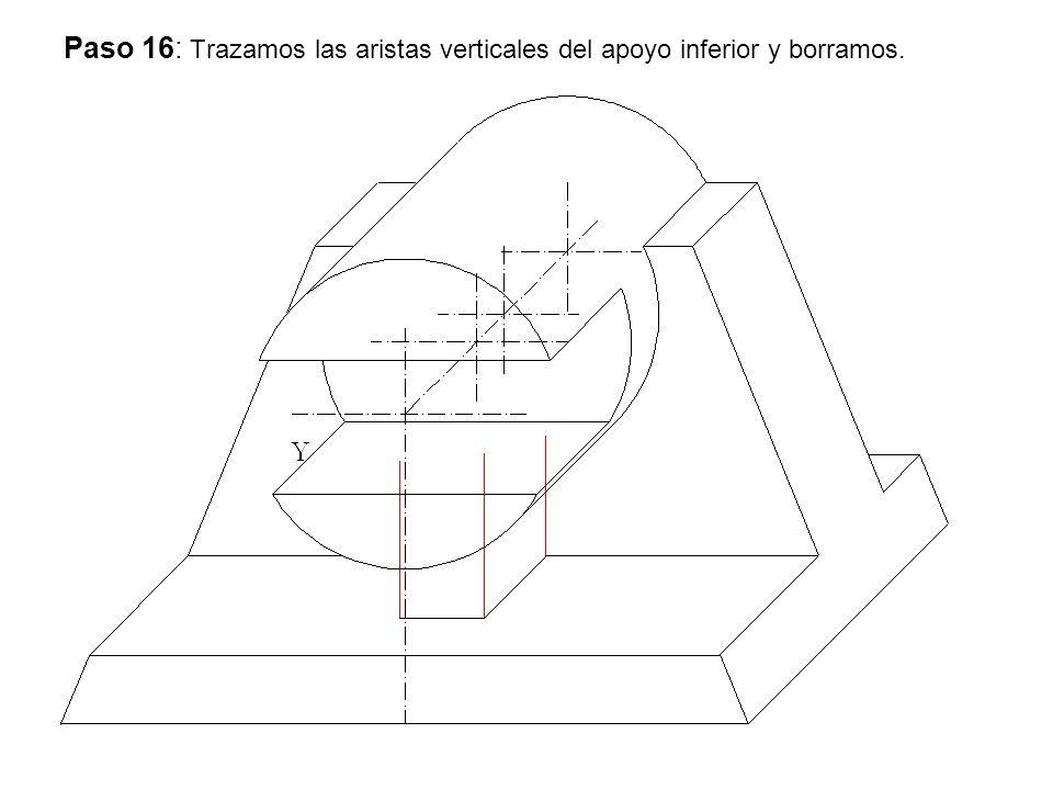 Paso 16: Trazamos las aristas verticales del apoyo inferior y borramos.