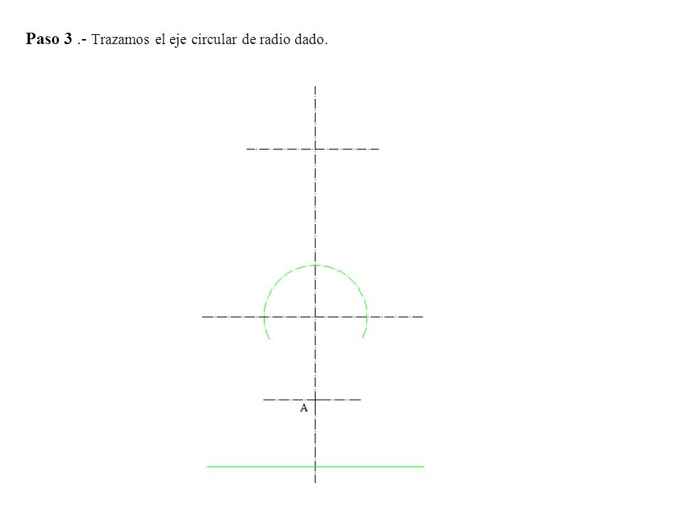 Paso 4.- Determinamos la proyección vertical del cilindro llevando desde O ,15 mm hacia cada lado trazamos paralelas al eje vertical.