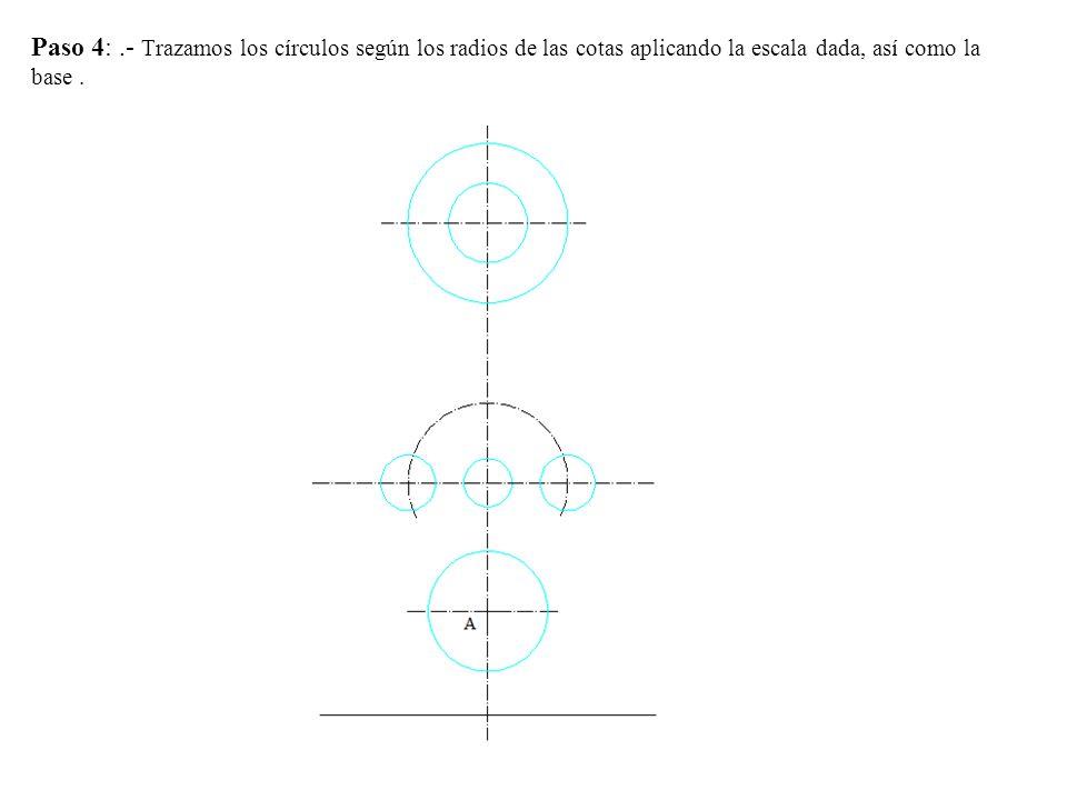 Paso 5.- En la proyección horizontal la base es una elipse de eje mayor 30 mm y menor se determina trazando las perpendiculares.