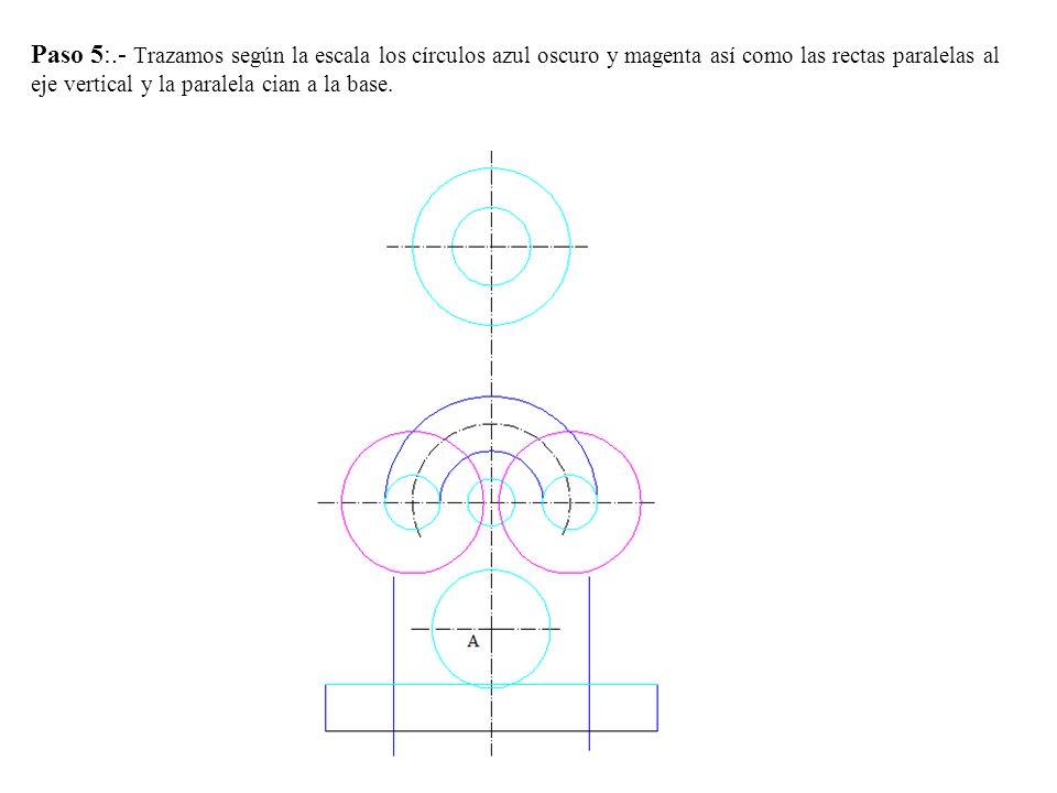 Paso 4.- Determinamos la proyección vertical del cono llevando desde O 15 mm hacia cada lado y los unimos con V .