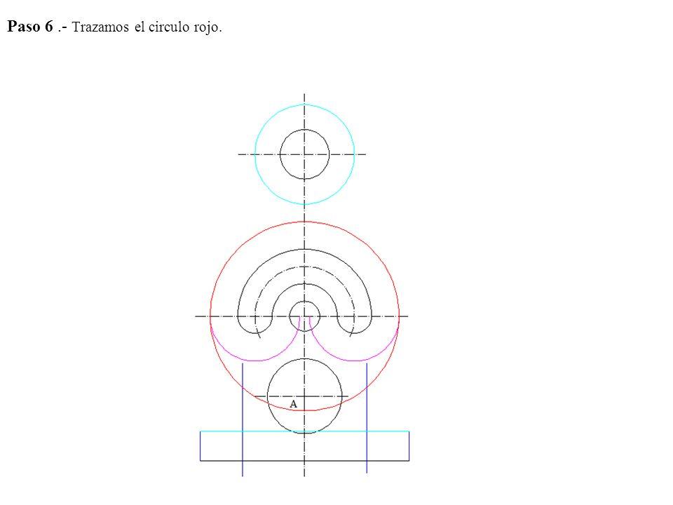 Paso 4.- Hallamos la mediatriz de AB pues como las circunferencias tangentes tienen que pasar por estos puntos el centro de las mismas tienen que encontrarse en la mediatriz.
