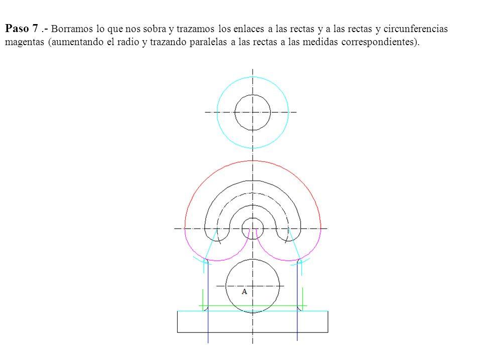 Paso 5.- Los puntos de intersección de la mediatriz y las perpendiculares punto O1 y O2 son los centros buscados.