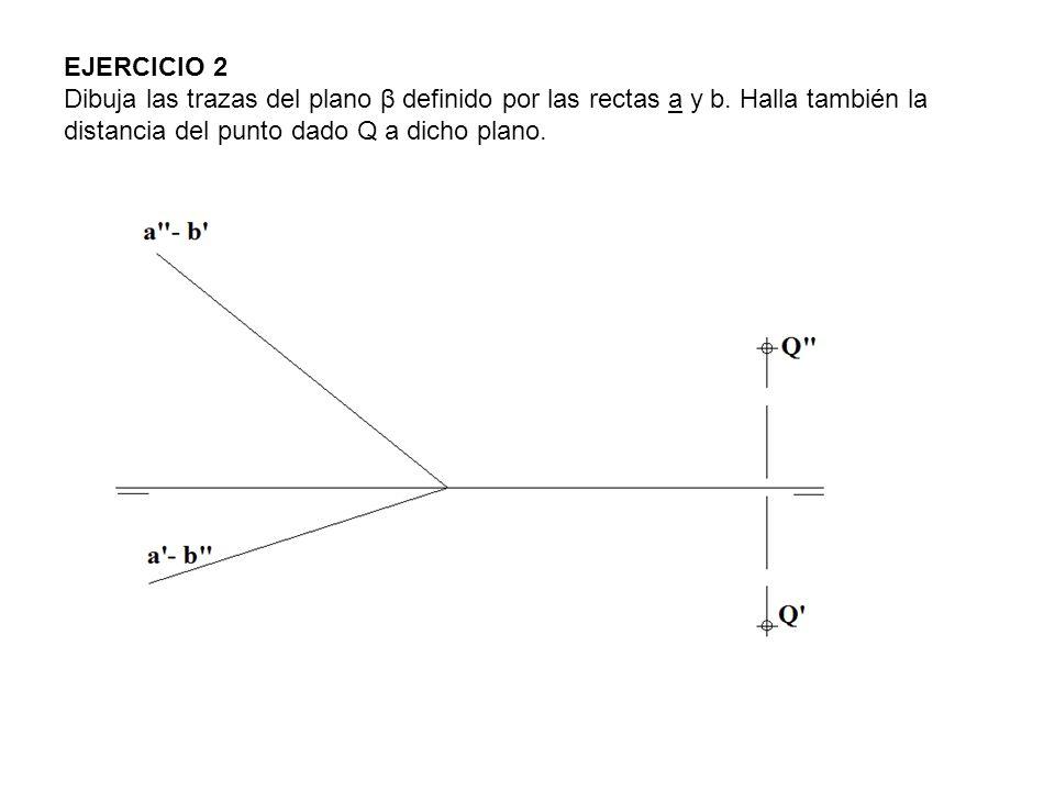 EJERCICIO 2 Dibuja las trazas del plano β definido por las rectas a y b. Halla también la distancia del punto dado Q a dicho plano.