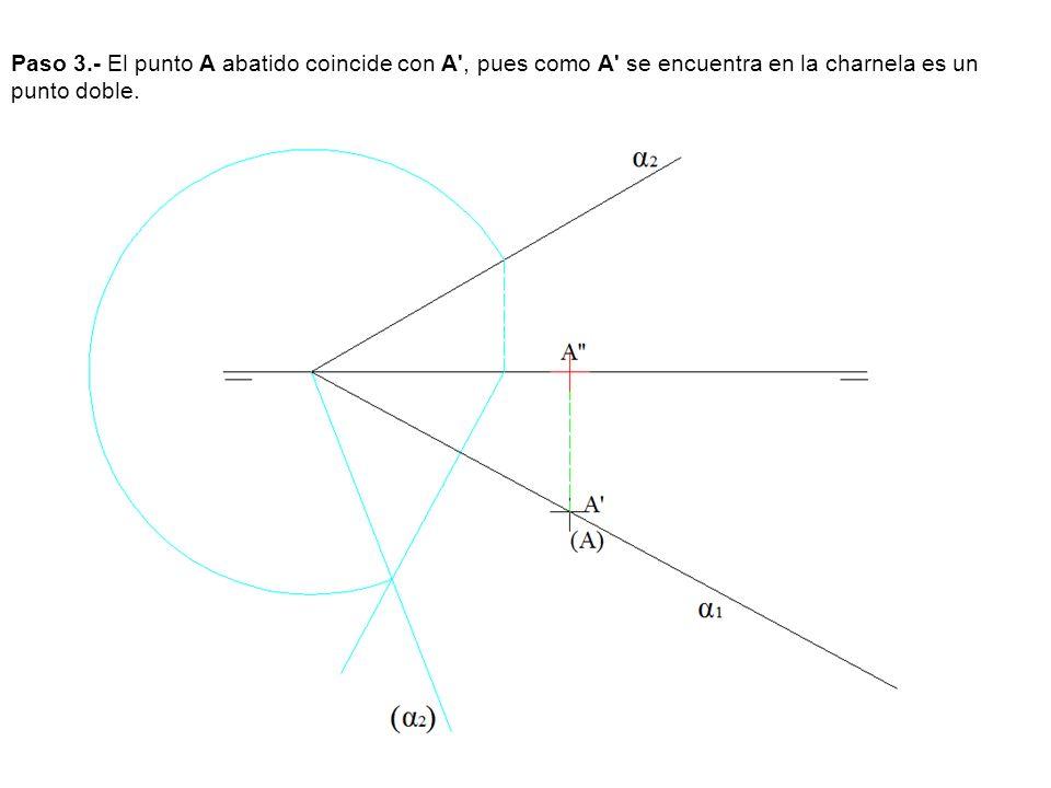 Paso 3.- El punto A abatido coincide con A', pues como A' se encuentra en la charnela es un punto doble.