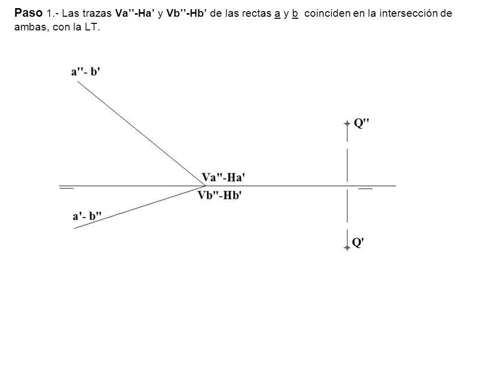 Paso 1.- Las trazas Va-Ha y Vb-Hb de las rectas a y b coinciden en la intersección de ambas, con la LT.
