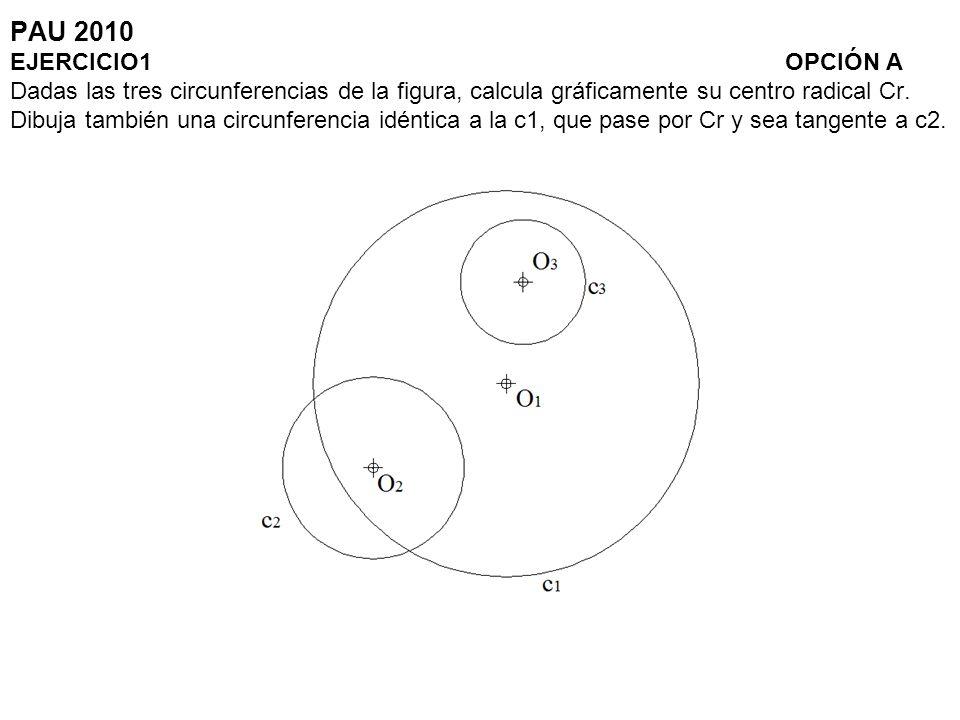PAU 2010 EJERCICIO1 OPCIÓN A Dadas las tres circunferencias de la figura, calcula gráficamente su centro radical Cr. Dibuja también una circunferencia