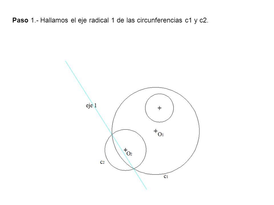 Paso 1.- Hallamos el eje radical 1 de las circunferencias c1 y c2.