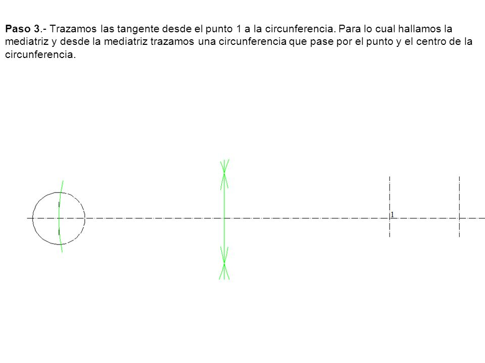 Paso 3.- Trazamos las tangente desde el punto 1 a la circunferencia. Para lo cual hallamos la mediatriz y desde la mediatriz trazamos una circunferenc