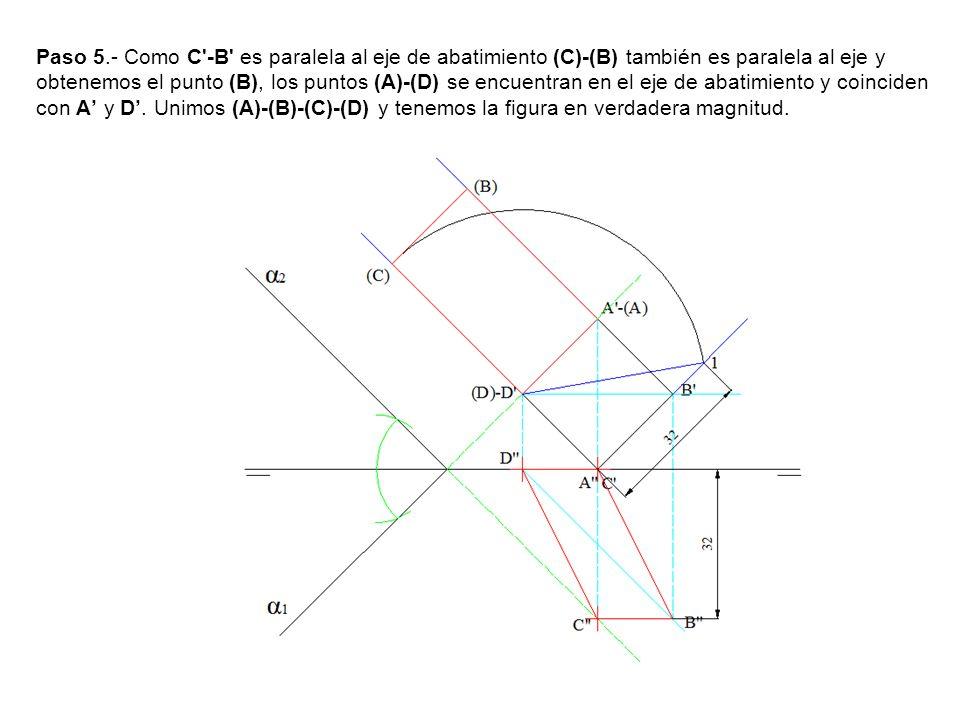 Paso 5.- Como C'-B' es paralela al eje de abatimiento (C)-(B) también es paralela al eje y obtenemos el punto (B), los puntos (A)-(D) se encuentran en
