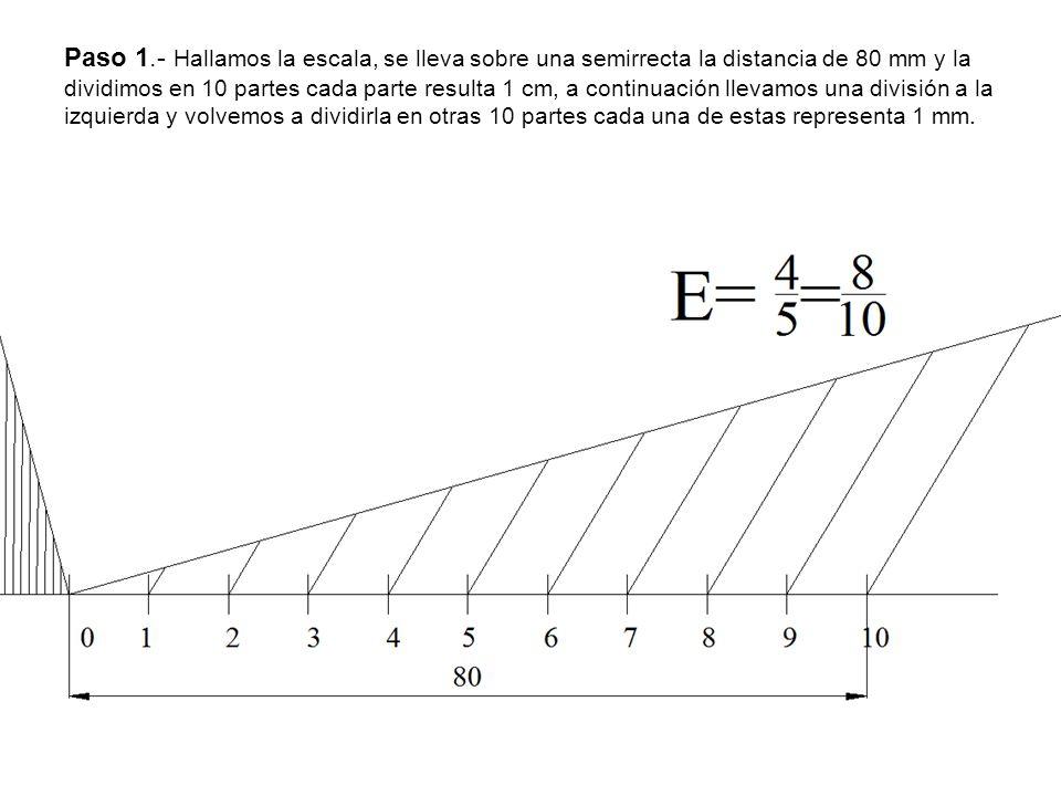 Paso 1.- Hallamos la escala, se lleva sobre una semirrecta la distancia de 80 mm y la dividimos en 10 partes cada parte resulta 1 cm, a continuación l