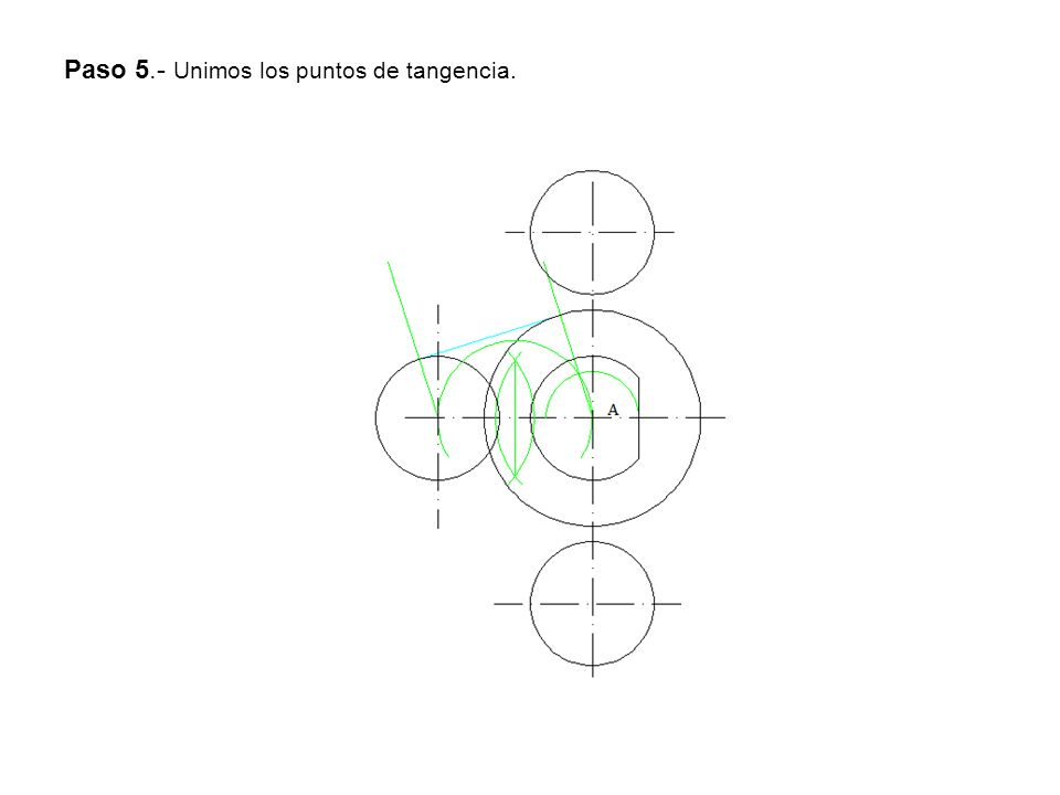 Paso 5.- Unimos los puntos de tangencia.