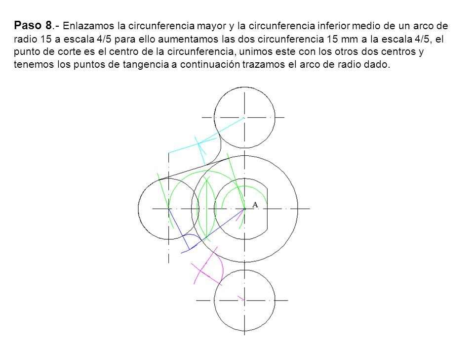 Paso 8.- Enlazamos la circunferencia mayor y la circunferencia inferior medio de un arco de radio 15 a escala 4/5 para ello aumentamos las dos circunf