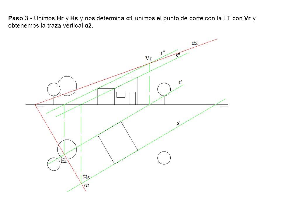 Paso 3.- Unimos Hr y Hs y nos determina α 1 unimos el punto de corte con la LT con Vr y obtenemos la traza vertical α 2.