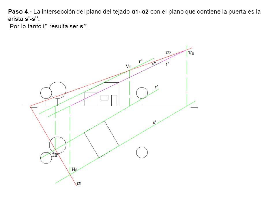 Paso 4.- La intersección del plano del tejado α 1- α 2 con el plano que contiene la puerta es la arista s'-s''. Por lo tanto i'' resulta ser s.