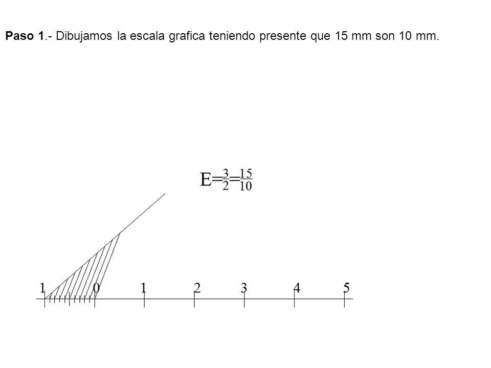 Paso 1.- Dibujamos la escala grafica teniendo presente que 15 mm son 10 mm.