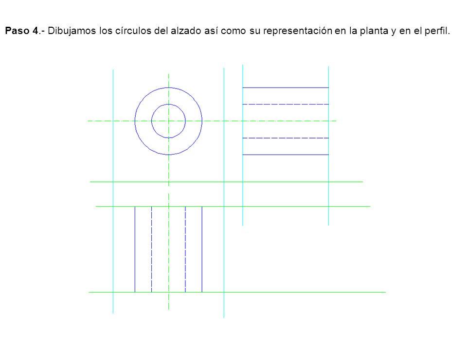 Paso 4.- Dibujamos los círculos del alzado así como su representación en la planta y en el perfil.