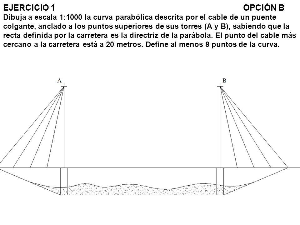 EJERCICIO 1OPCIÓN B Dibuja a escala 1:1000 la curva parabólica descrita por el cable de un puente colgante, anclado a los puntos superiores de sus tor
