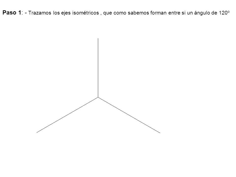 Paso 1: - Trazamos los ejes isométricos, que como sabemos forman entre si un ángulo de 120º