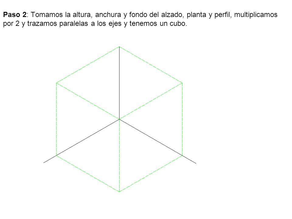Paso 2: Tomamos la altura, anchura y fondo del alzado, planta y perfil, multiplicamos por 2 y trazamos paralelas a los ejes y tenemos un cubo.