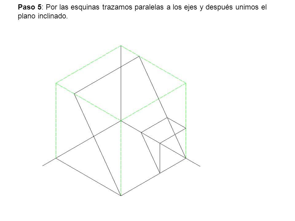 Paso 5: Por las esquinas trazamos paralelas a los ejes y después unimos el plano inclinado.