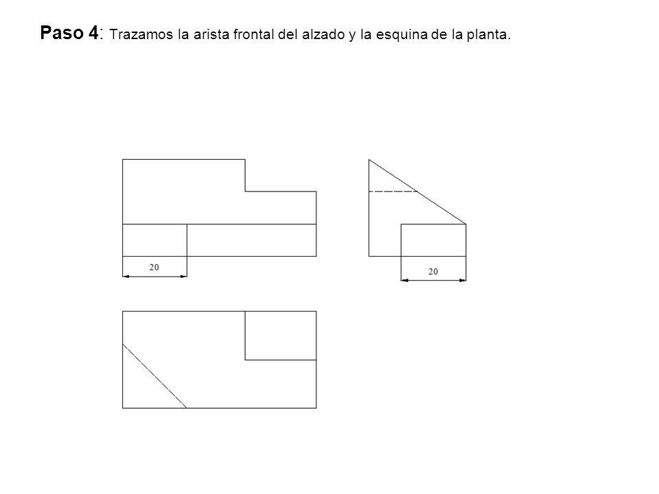 Paso 4: Trazamos la arista frontal del alzado y la esquina de la planta.