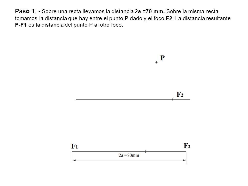 Paso 1: - Sobre una recta llevamos la distancia 2a =70 mm. Sobre la misma recta tomamos la distancia que hay entre el punto P dado y el foco F2. La di