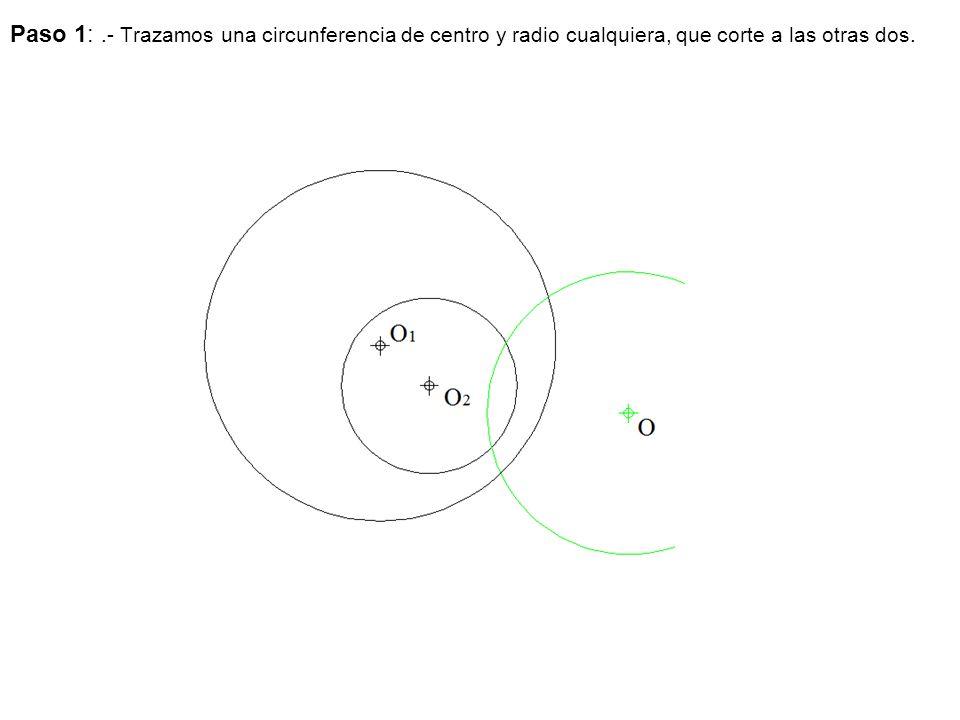 Paso 2:.- Trazamos una circunferencia cualquiera tangente a las rectas r y s de centro O.