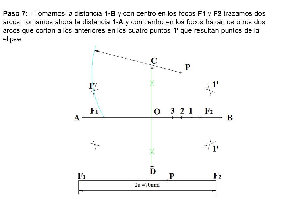 Paso 7: - Tomamos la distancia 1-B y con centro en los focos F1 y F2 trazamos dos arcos, tomamos ahora la distancia 1-A y con centro en los focos traz