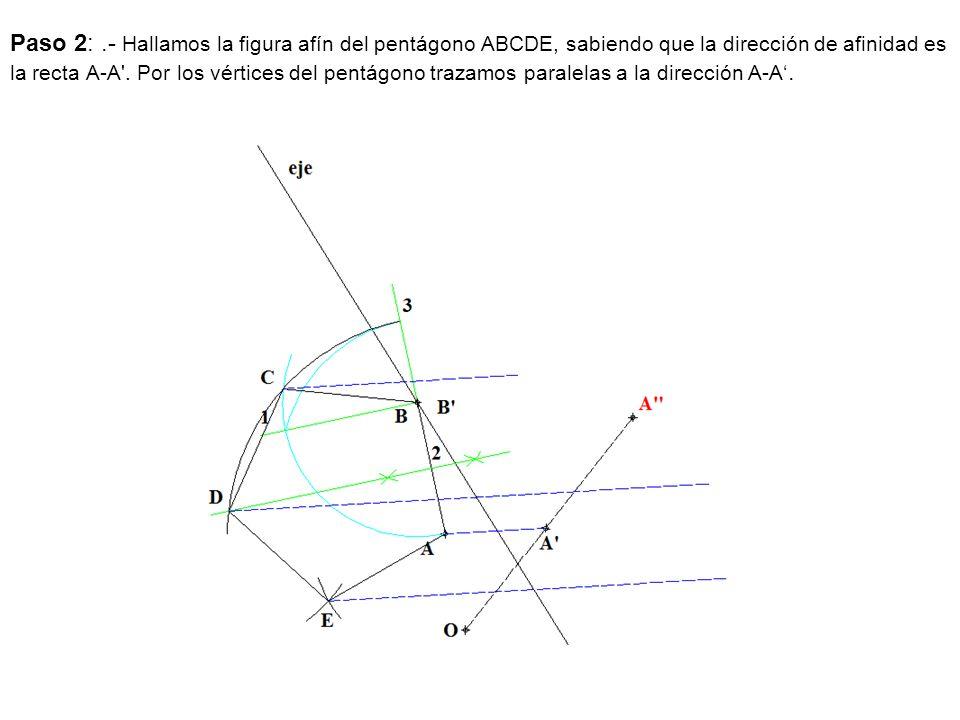 Paso 2:.- Hallamos la figura afín del pentágono ABCDE, sabiendo que la dirección de afinidad es la recta A-A'. Por los vértices del pentágono trazamos