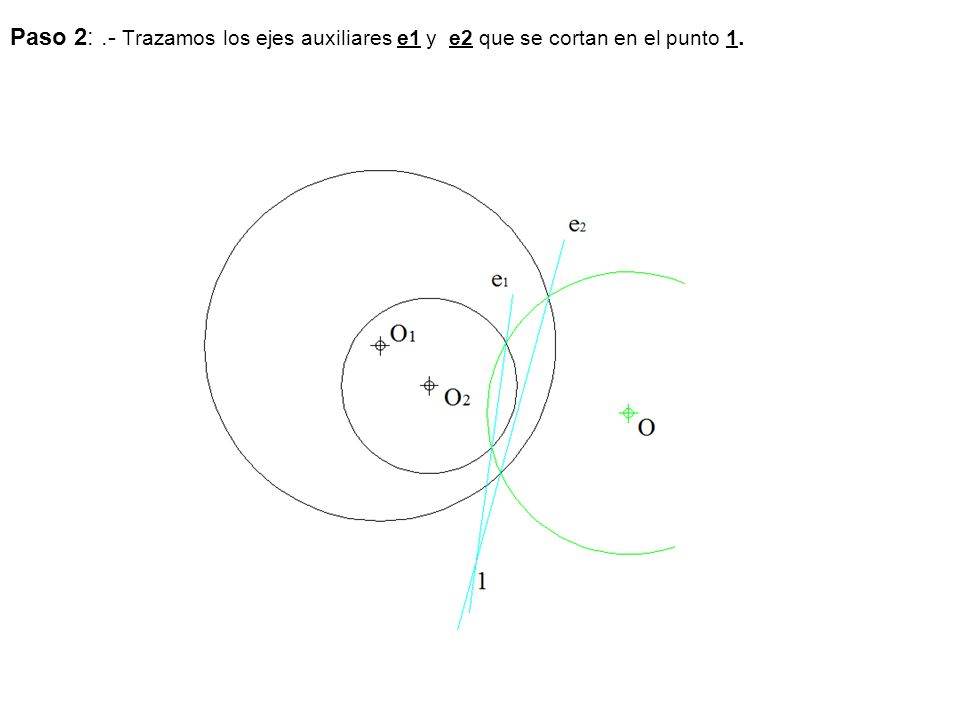 Paso 3:.- Unimos el punto P con V y obtenemos los puntos 1 y 2.