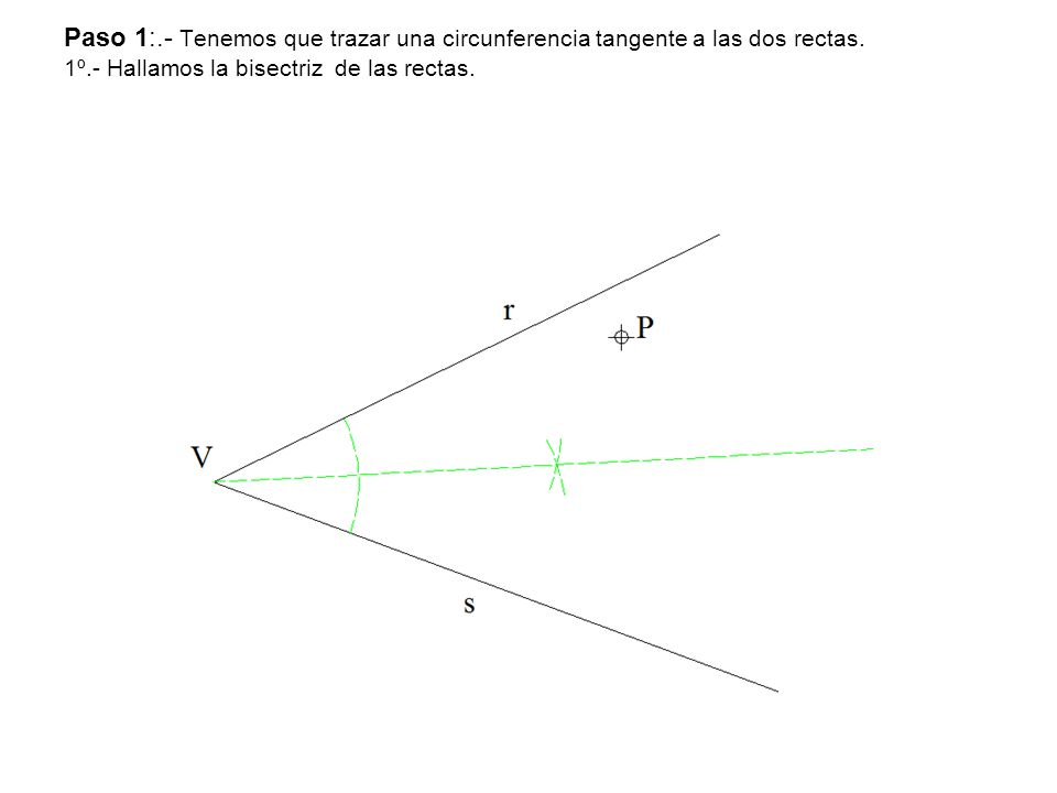 Paso 1:.- Tenemos que trazar una circunferencia tangente a las dos rectas. 1º.- Hallamos la bisectriz de las rectas.