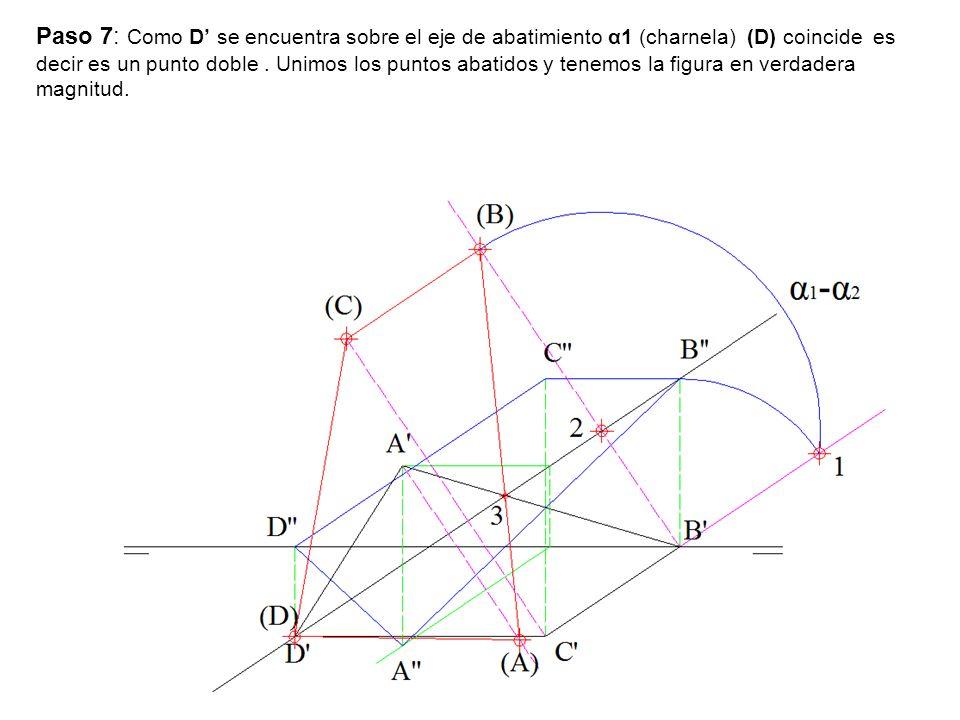 Paso 7: Como D se encuentra sobre el eje de abatimiento α1 (charnela) (D) coincide es decir es un punto doble. Unimos los puntos abatidos y tenemos la