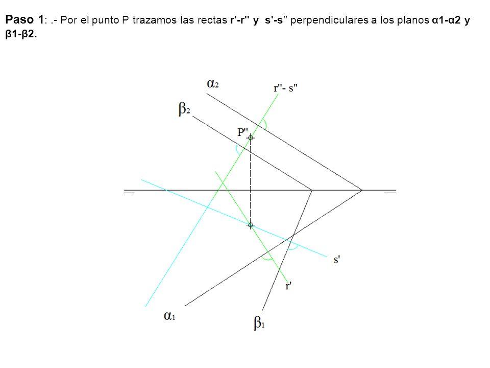 Paso 1 :.- Por el punto P trazamos las rectas r'-r'' y s'-s'' perpendiculares a los planos α1-α2 y β1-β2.