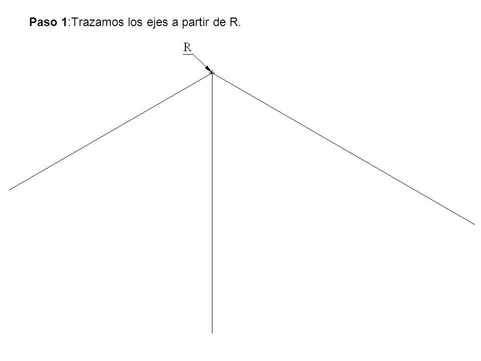 Paso 1:Trazamos los ejes a partir de R.
