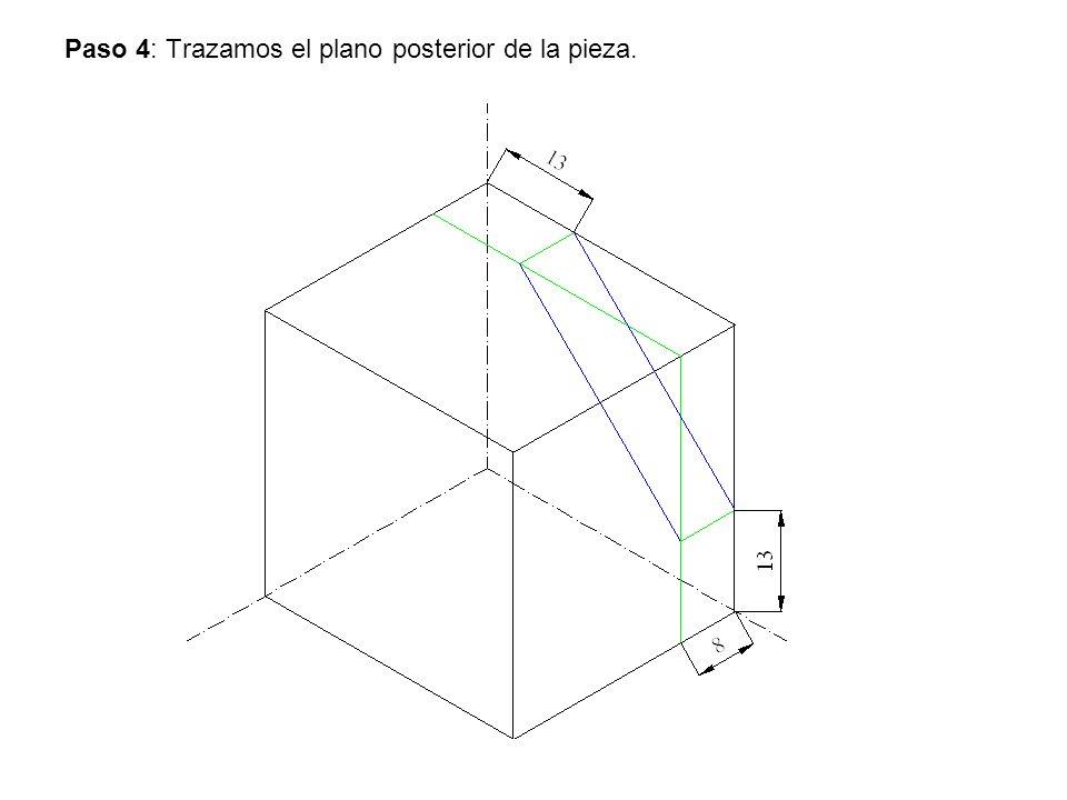 Paso 4: Trazamos el plano posterior de la pieza.