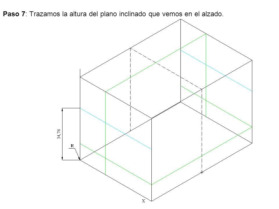 Paso 7: Trazamos la altura del plano inclinado que vemos en el alzado.