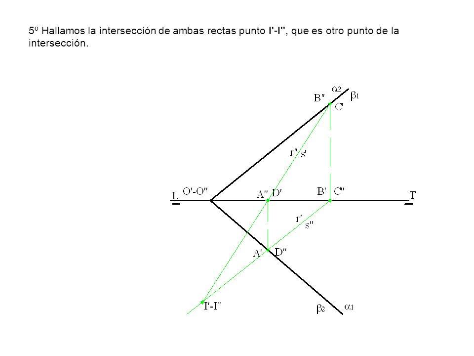 5º Hallamos la intersección de ambas rectas punto I'-I'', que es otro punto de la intersección.