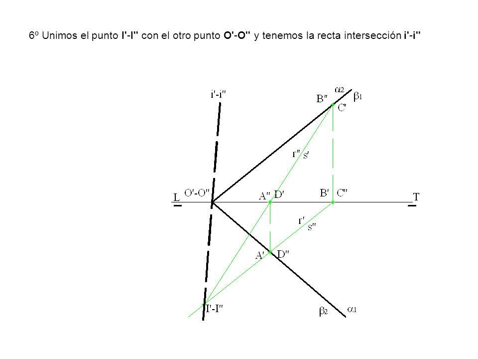 6º Unimos el punto I'-I'' con el otro punto O'-O'' y tenemos la recta intersección i'-i''