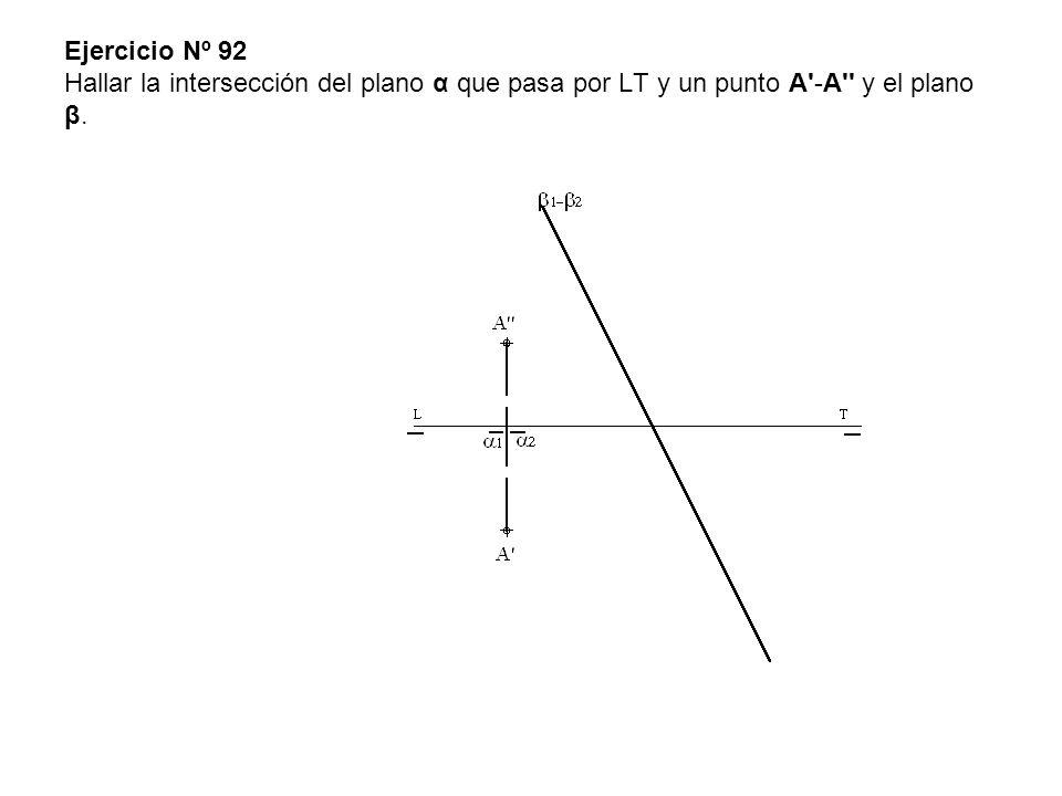 Ejercicio Nº 92 Hallar la intersección del plano α que pasa por LT y un punto A'-A'' y el plano β.
